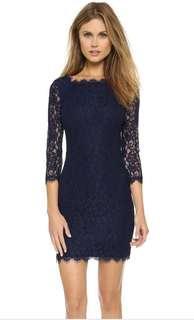 Diane Von Furstenberg lace navy dress DVF Zarita XS 2