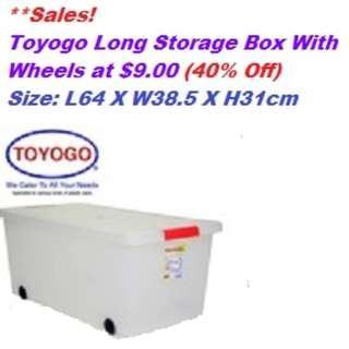 Toyogo Long Storage Box With Wheels