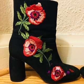 Black & Floral booties