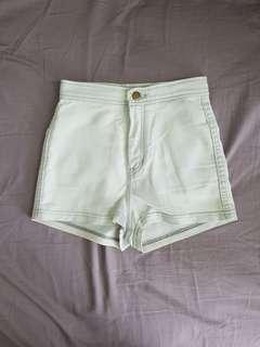 American Apparel High Waisted Denim Shorts in Light Blue