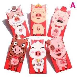 (18.8 x 8.9 CM) LARGE PIG RED PACKETS FOR THE YEAR OF THE PIG 2019 - 1 pack of 6 @ $4.50 only!!!