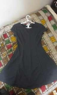 Gray textured flare dress (small) from forever21
