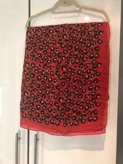 Stella & Dot - red leopard print Poncho Scarf