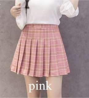 PINK Plaid Tennis Skirt HW Pleated