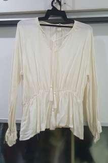 H&M Boho white top