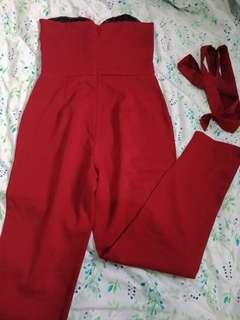 Michaela red tube jumpsuit