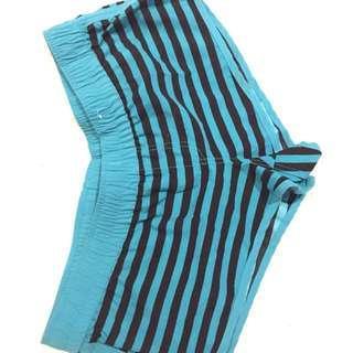 Torquoise & Black Striped Boardshorts