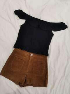 Black ruffles Off Shoulder knitted Crop Top