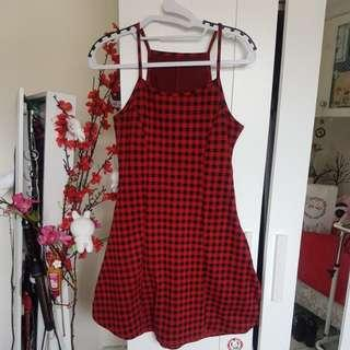 Red gingham plaid dress S/M