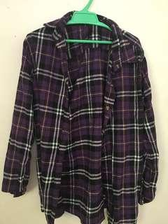 Purple flannel button up