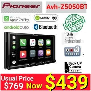 """Best Seller Pioneer Z5050BT head unit - Android Auto + Apple Carplay + Bluetooth 7"""" Touchscreen  DVD player + Spotify .   Model Z5050BT. Usual Price: 660 Special price: $ 449  (Brand new in box & sealed) + 60 days 1 to 1Brand new set exchange"""