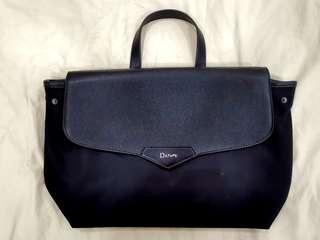 Two ways Daphne half leather half waterproof fabric black color bag