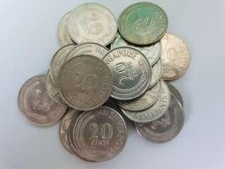 Singapore 20 coint Coins mix year (22 pcs)