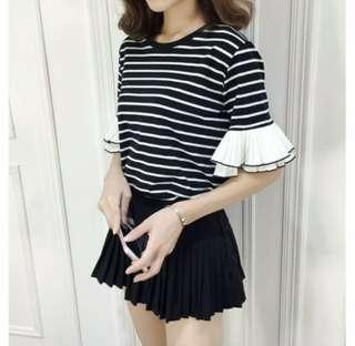 Bell Sleeves Stripe Tops Ruffles Women Blouse
