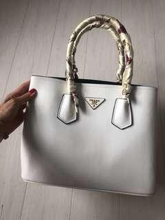 REDUCED Pre owned Prada Saffiano Cuir Small Double Bag white