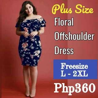 SALE! 2 colors! Best Seller! Restock! Plus Size Floral Offshoulder Dress (FS: Stretch, fits L - 2XL)