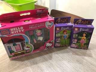 Hello Kitty Mega Bloks and 2 x Friends Figurines
