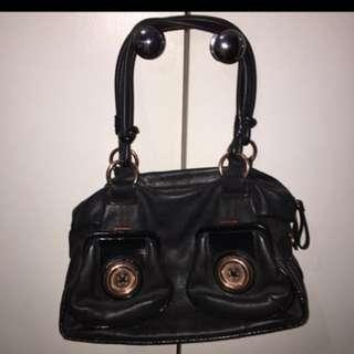 Mimco black leather rose gold button bag