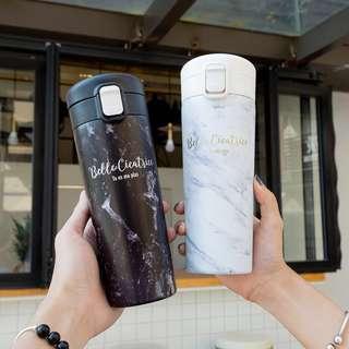 黑色大理石紋不鏽鋼大口徑保溫杯保溫瓶 網美必備