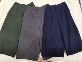 Vintage pants/ culottes in 3 colors