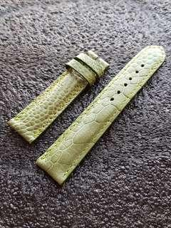 Genuine Ostrich Leg 20mm Watch strap Leaf Green for Rolex Omega JLC Grand Seiko etc