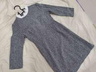 British style grey knitted A shape dress with lace collars