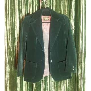 Green Velvet Vintage Highland Queen Blazer, made in Canada.