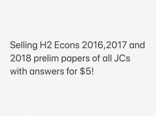 Economics H2 all JCs prelim papers with answers 2016-2018