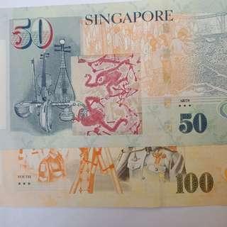 3★★★icon, portrait $100 & $50 note (lot of 2pcs).