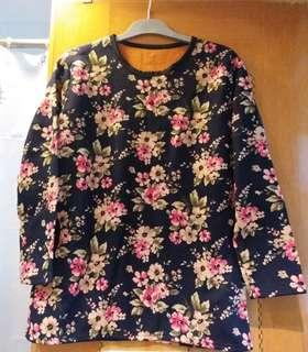 🈹️ Polar fleece knitted sweatshirt with floral print allover ~ New