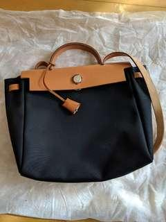 2bd9192f11 Hermes Herbag 29 (black and cream canvas)
