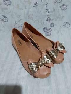 Authentic Zaxy bow flats size US8 nude
