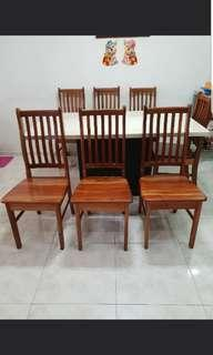 Good condition quality hard chengai wood wooden chair x 4