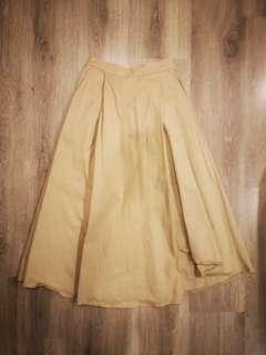 Shoploooh Asymmetry Pleat Midi Skirt #CNY888