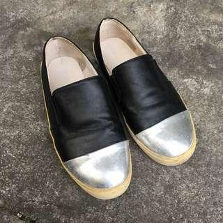 🚚 銀黑色拼接懶人鞋平底鞋