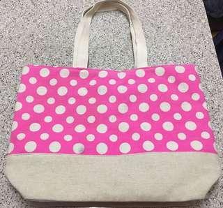 全新 粉紅色 白色波點手提袋