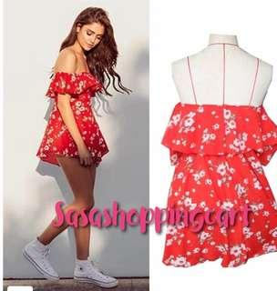 😆FREE SHIPPING* under 500g😆 (Red) Off shoulder chest-chest chiffon printed split dress