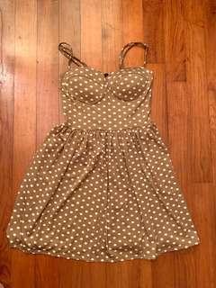 Nude polka dot bustier dress
