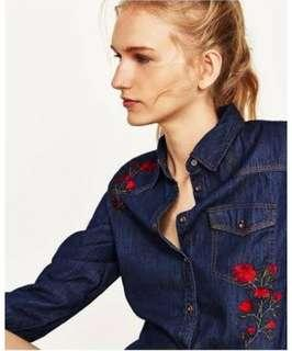 Zara Embroidered Denim Collared Top