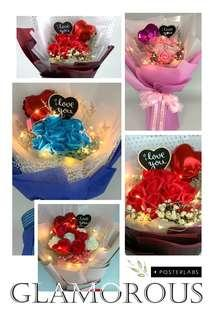 Valentine Bouquet- 9 stalk Scented Roses with dried flowers (including chalkboard, foil balloon) Size: Ht50cm x W35cm