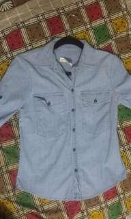 Zara collared light blue chambray shirt size small