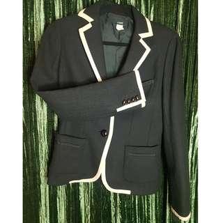 Dark Blue J. Crew wool piped blazer.  Gently used. Size 4.