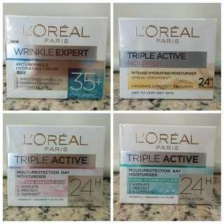 全新Loreal Paris Triple Active Moisturiser & Winkle Expert Gel-Cream