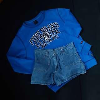 FUBU pullover and soft denim shorts