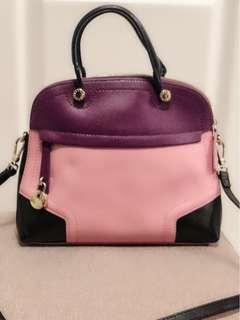 Furla Piper Bag - Color Block Leather Top Handle Satchel Purse Exclusive for Hong Kong Jockey Club