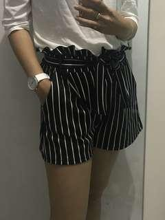 Stripe paper bag short / bow