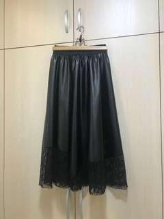 🚚 皮質拼蕾絲長裙