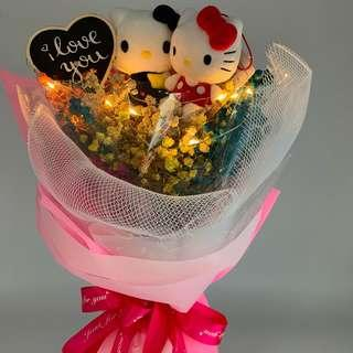 Valentine Bouquet- Hello kitty with Dried Baby Breath ( LED lights included)Size-W30xht43cm)