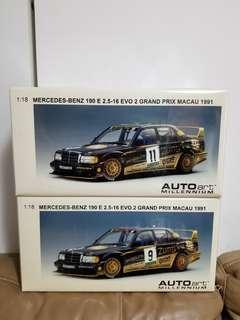 190e 罕有100%new 絕版 1/18 Autoart Mercedes Benz 190e 2.5-16 EVO 2 Grand Prix Macau 1991 Zung