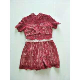 Doublewoot Red Lace Romper Size M #CNY888